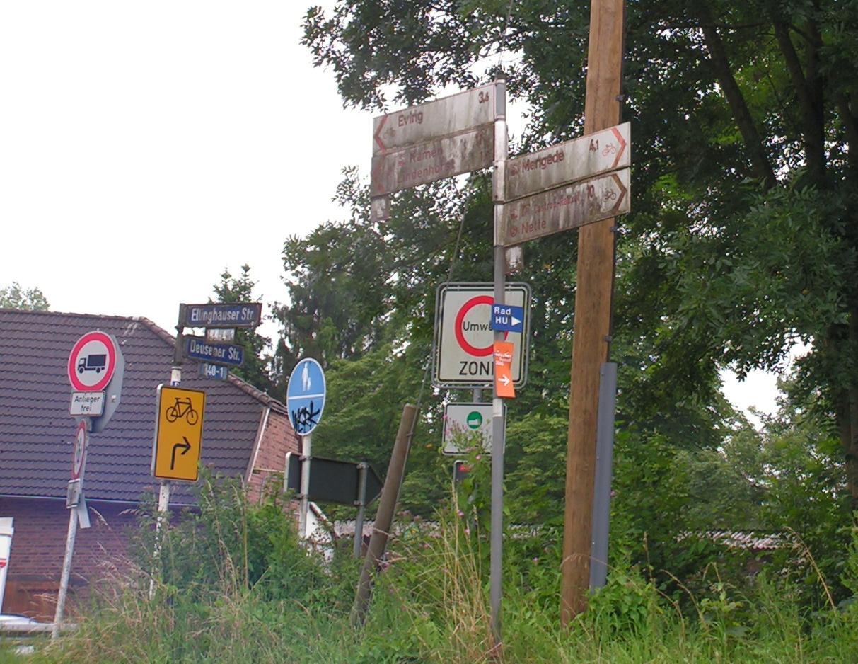 Benutzungspflicht ohne Hinweis auf Gegenverkehr. Sorgfältig gepflegte Radwegweisung für das Hauptnetz NRW. (Foto: Peter Maier)