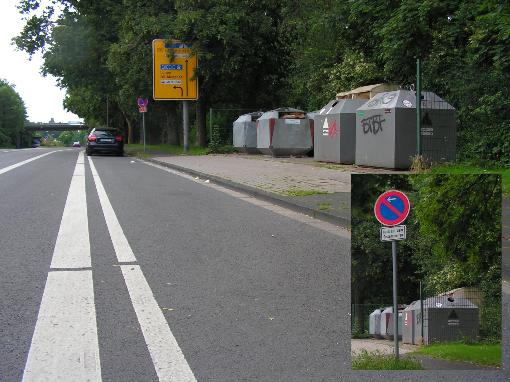 Positivbeispiel: Ladezone neben Radfahrstreifen an einem Recyclingcontainer an der Wittener Straße in Castrop-Rauxel. (Foto: Peter Maier)