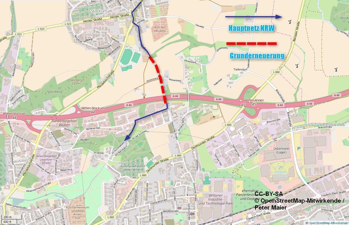 Grunderneuerung zwischen A44 und Ortseingang Stockum. (Karte CC-BY-SA )