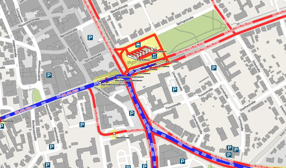 Möglicherweise das größte Hindernis für eine fahrradfreundliche Lösung: Zentraler Omnibusbahnhof Buer an der Kreuzung De-la-Chevallerie-Straße und Goldbergstraße, wichtigster Verknüpfungspunkt für den öffentlichen Personennahverkehr im Norden der Stadt. Hier treffen zahlreiche Linien der Vestischen Straßenbahnen GmbH und der Bochum-Gelsenkirchener Straßenbahnen AG zusammen. (Karte: Open-Streetmap-Mitwirkende , CC-BY-SA )