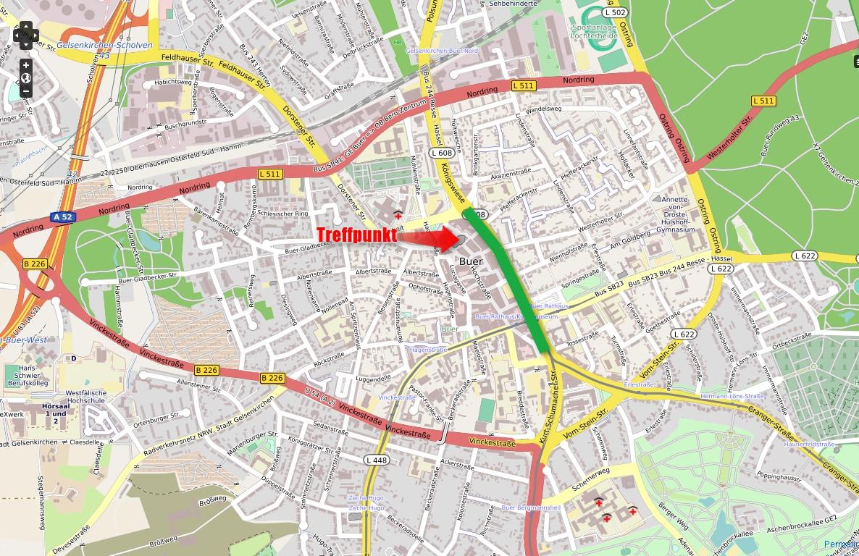 De-la-Chevallerie-Straße in Grün. Es ist leicht zu erkennen, warum die Straße von Durchgangsverkehr missbraucht wird, der eine Abkürzung für den Umgehungsring sucht. (Karte: Open-Streetmap-Mitwirkende/Peter Maier , CC-BY-SA )