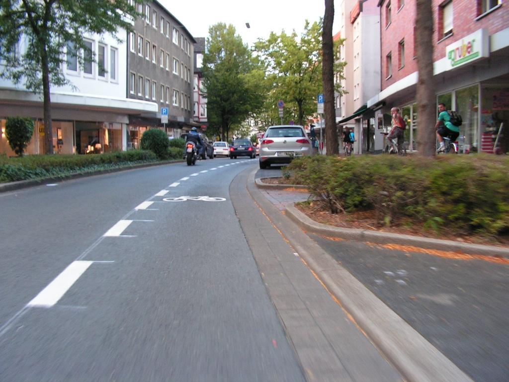 Abstimmung über die Streifenqualität: Ein Radfahrer auf dem Schutzstreifen und vier auf dem Gehweg. Mit dieser Qualität löst man das Problem der Gehwegradler nicht. (Foto: Peter Maier)