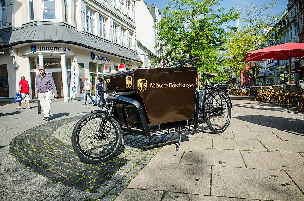 Solche Lasten-Fahrräder sin demnächst in der Herner Bahnhofstraße zu sehen.  (Foto: Thomas Schmidt, Stadt Herne)